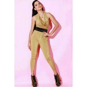 Pants - Gold Satin Jumpsuit